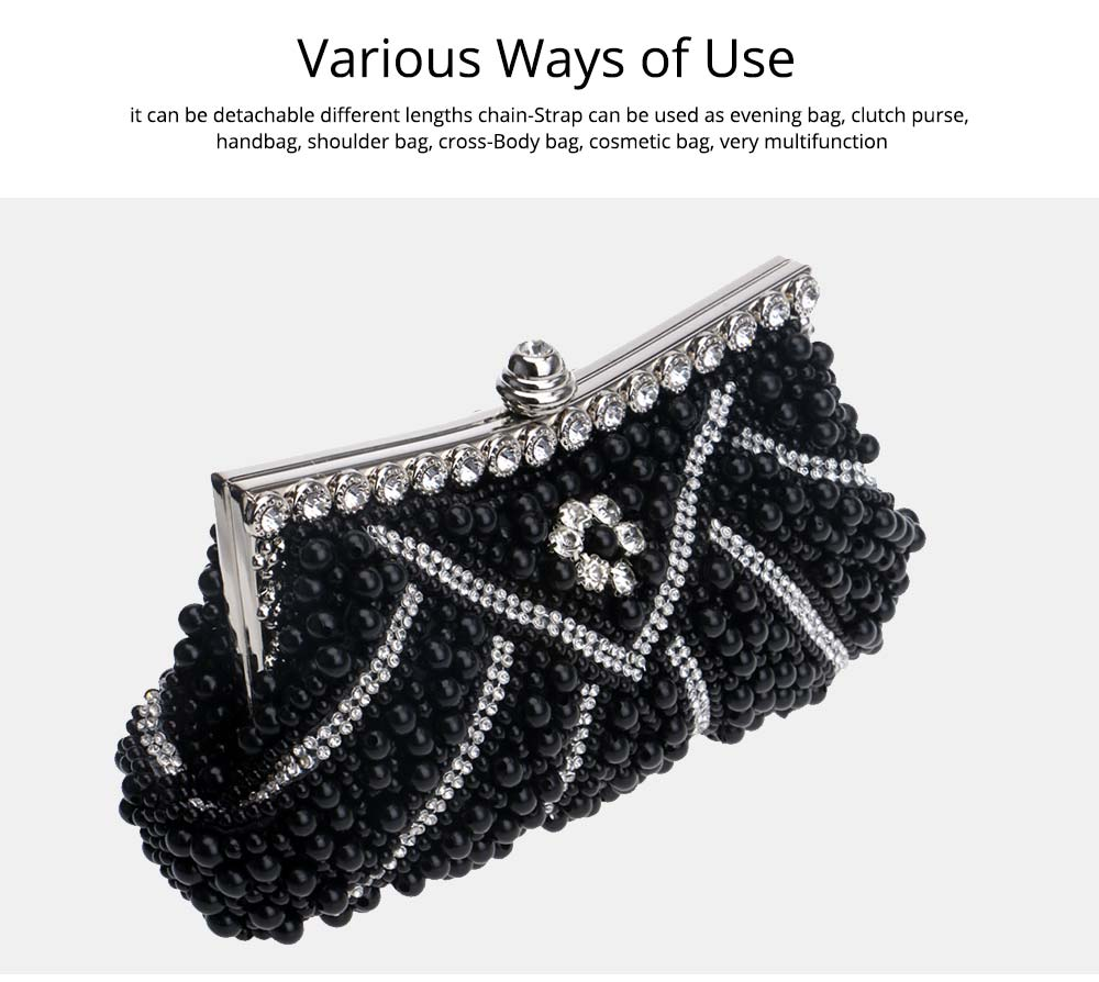 Luxurious Pearl Evening Clutch Bags, Women's Handmade Full Pearl Bridal Evening Clutch Bag 6