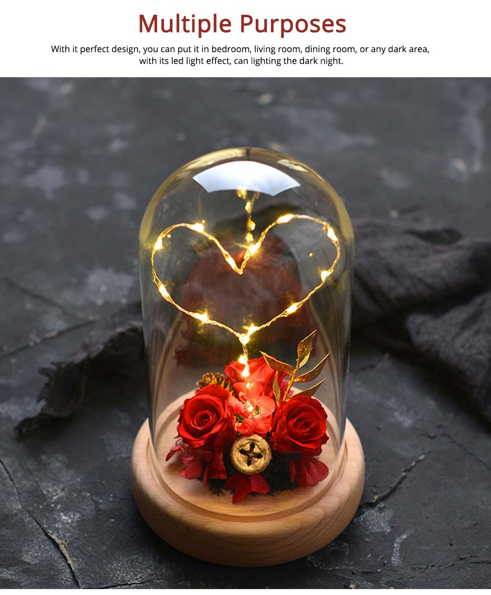 Imitation Rose Preserved Fresh Flower with LED Light Glass Cover, Great Valentine's Day Gift 6