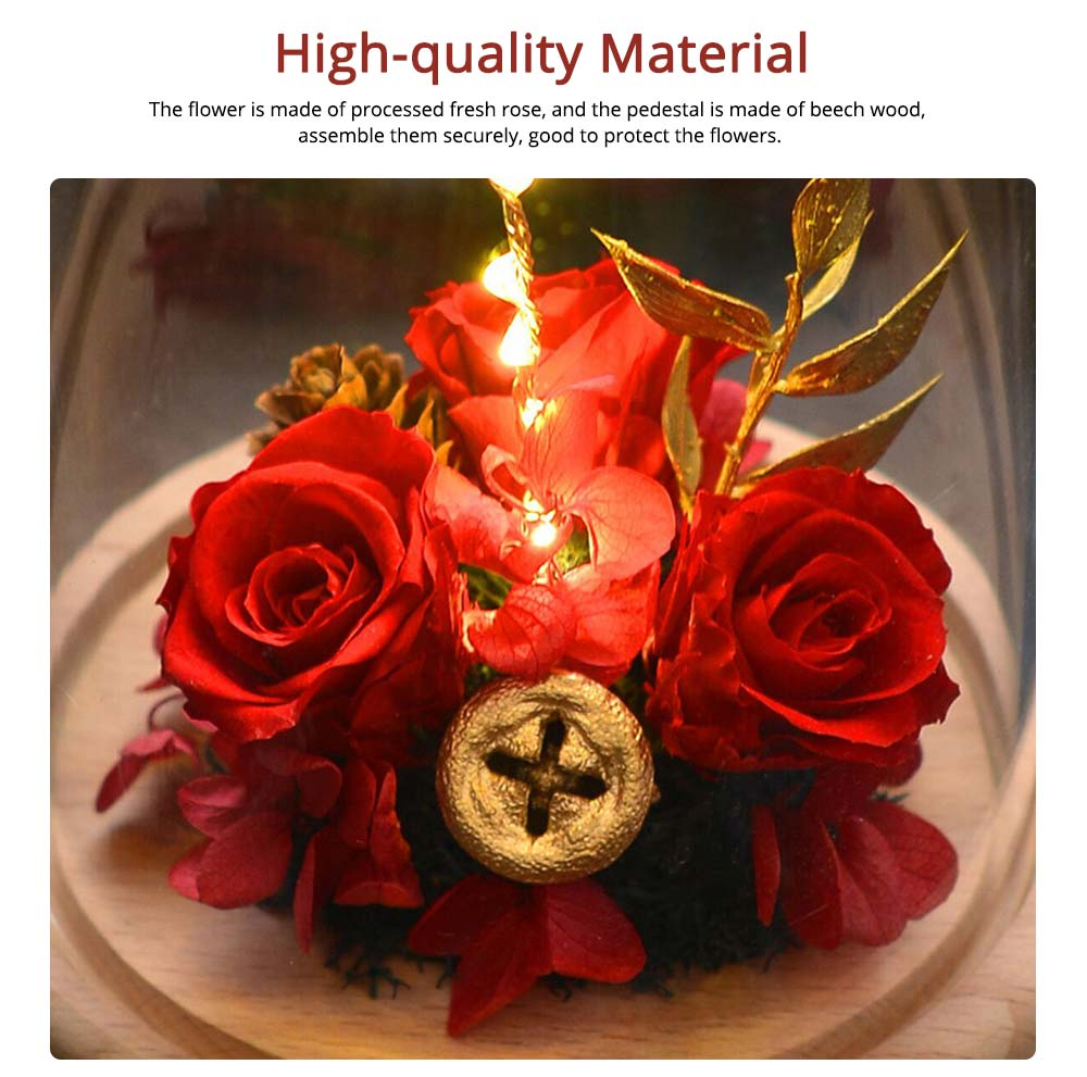 Imitation Rose Preserved Fresh Flower with LED Light Glass Cover, Great Valentine's Day Gift 5