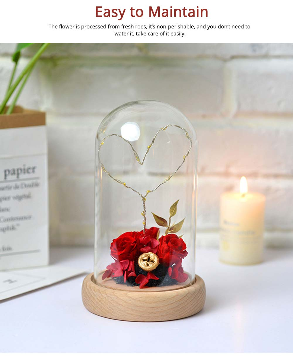 Imitation Rose Preserved Fresh Flower with LED Light Glass Cover, Great Valentine's Day Gift 2