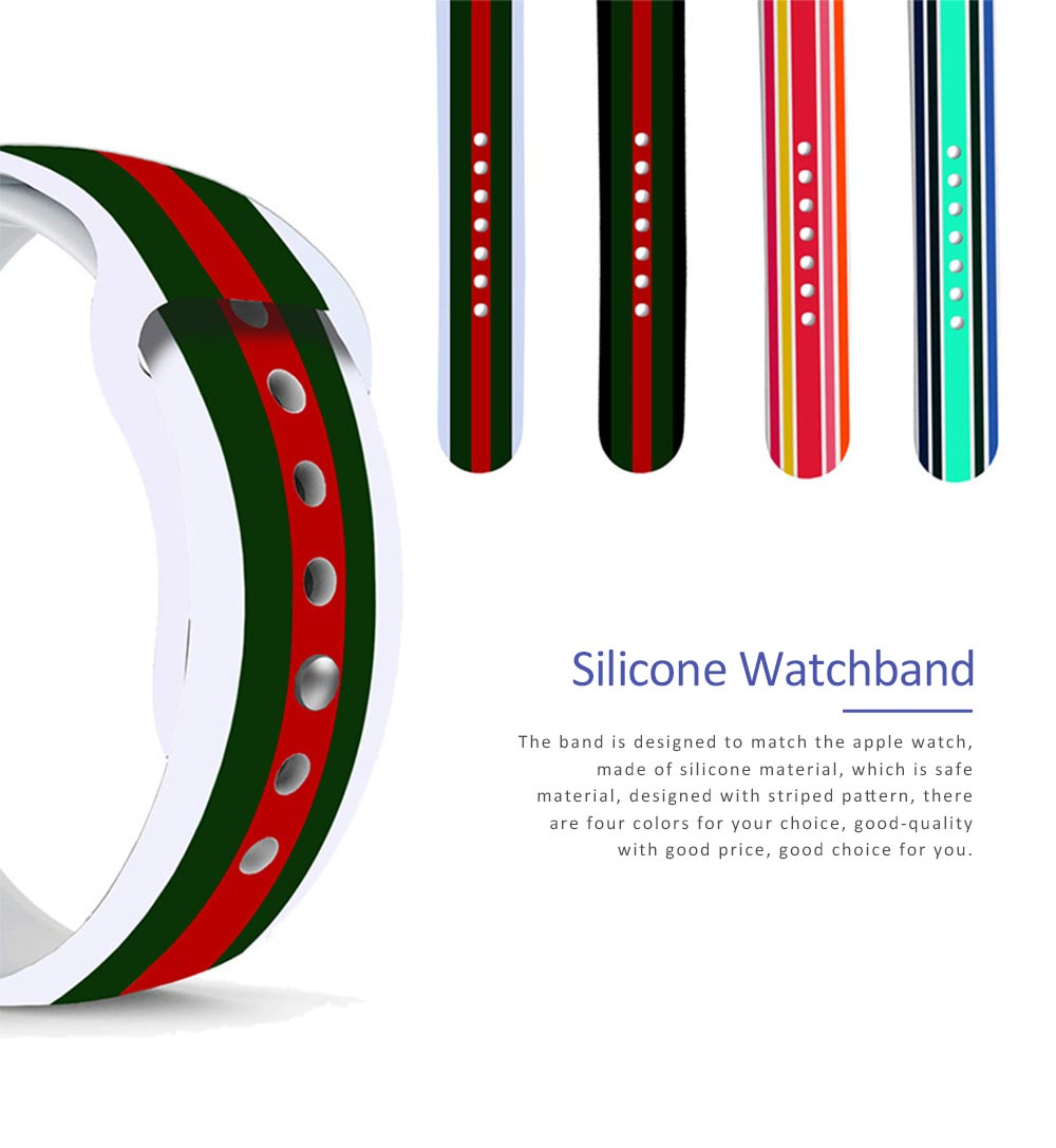 Silicone Watch Band Sport Band for Apple Watch Multiple Model Striped Watch-strap, 38-42mm 0