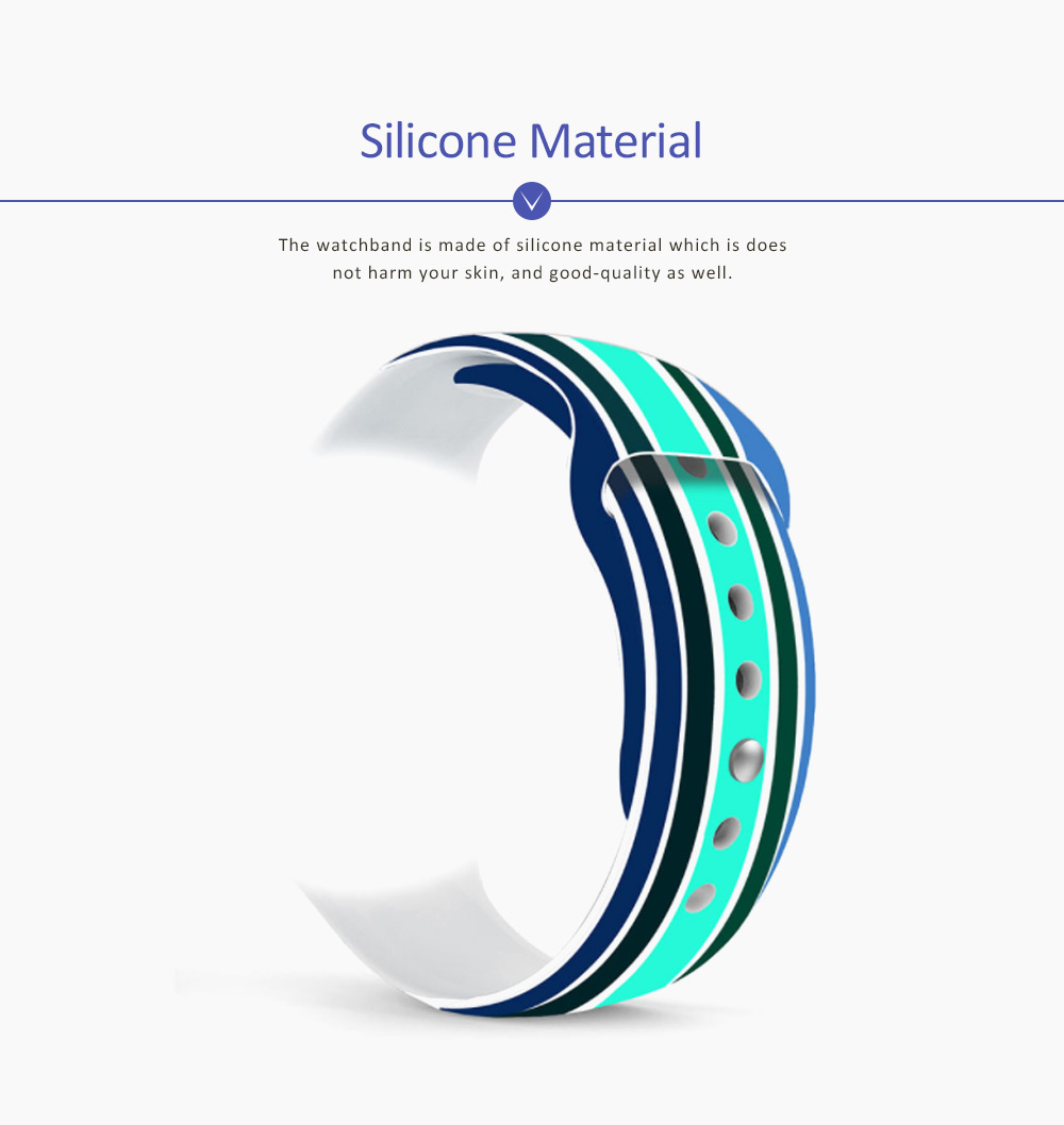 Silicone Watch Band Sport Band for Apple Watch Multiple Model Striped Watch-strap, 38-42mm 1