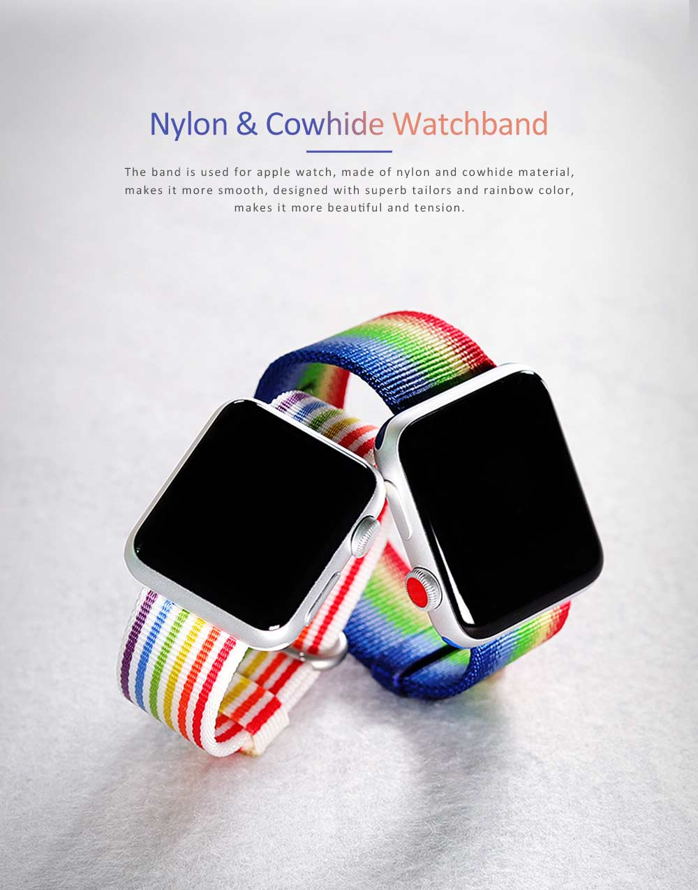 Watchband For Apple Watch, Nylon and Cowhide Band Matching for Apple Watch Casual Strap for Sports, Causal 0