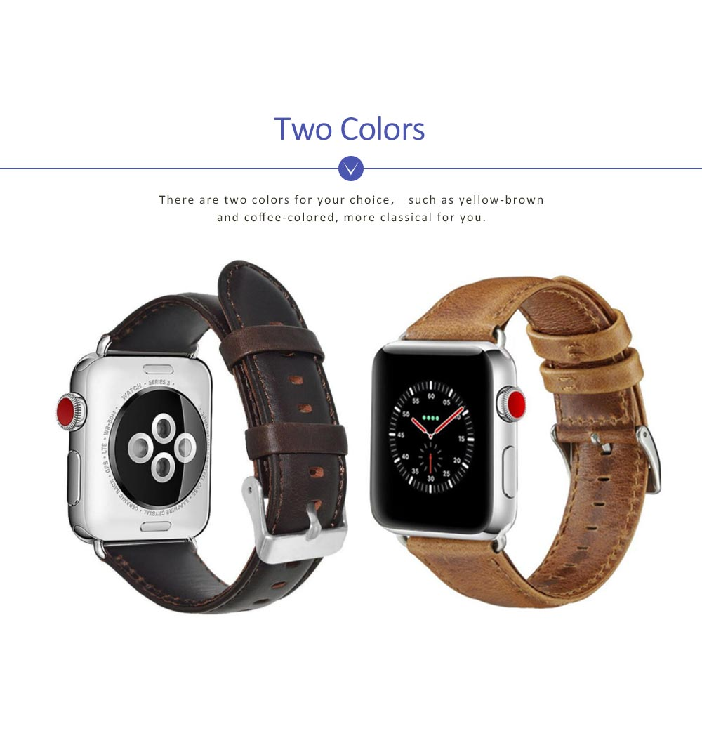 New Watchband Cowhide Leather Casual Belt for Apple Four Generation Watch Classical Strap 5