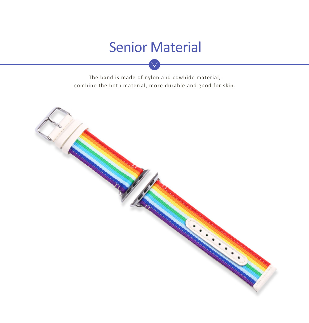 Watchband For Apple Watch, Nylon and Cowhide Band Matching for Apple Watch Casual Strap for Sports, Causal 1