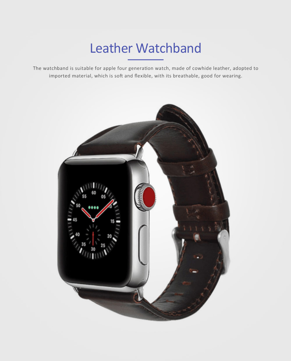 New Watchband Cowhide Leather Casual Belt for Apple Four Generation Watch Classical Strap 0
