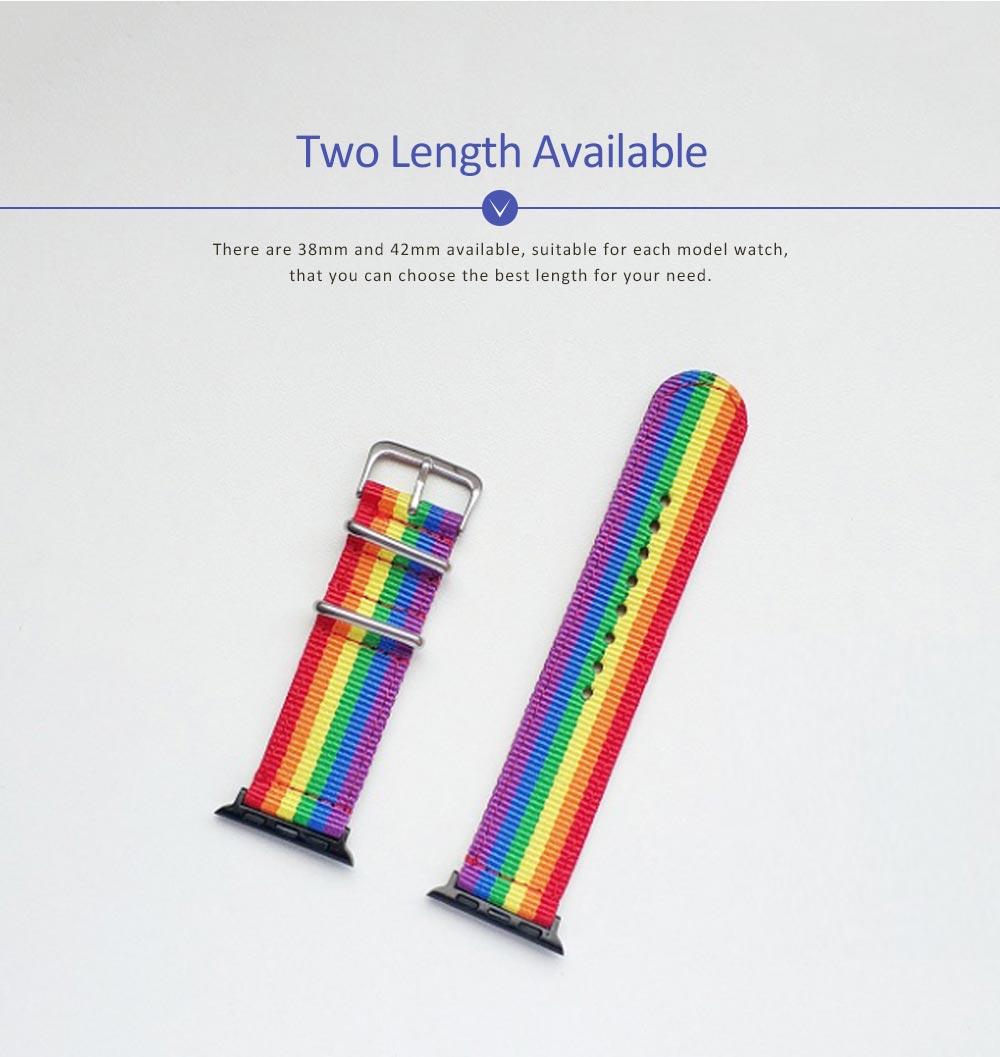 Rainbow Watch Band Nylon Band, Fashionable Watch-belt New Strap, Matching Apple Watch 38/42mm 4