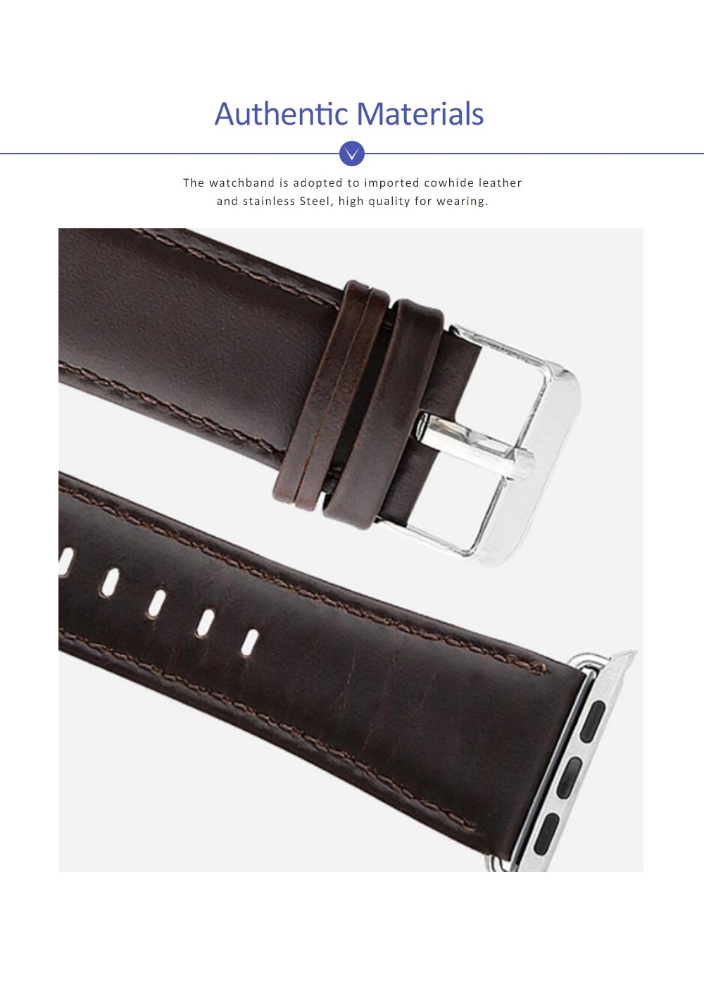 New Watchband Cowhide Leather Casual Belt for Apple Four Generation Watch Classical Strap 3