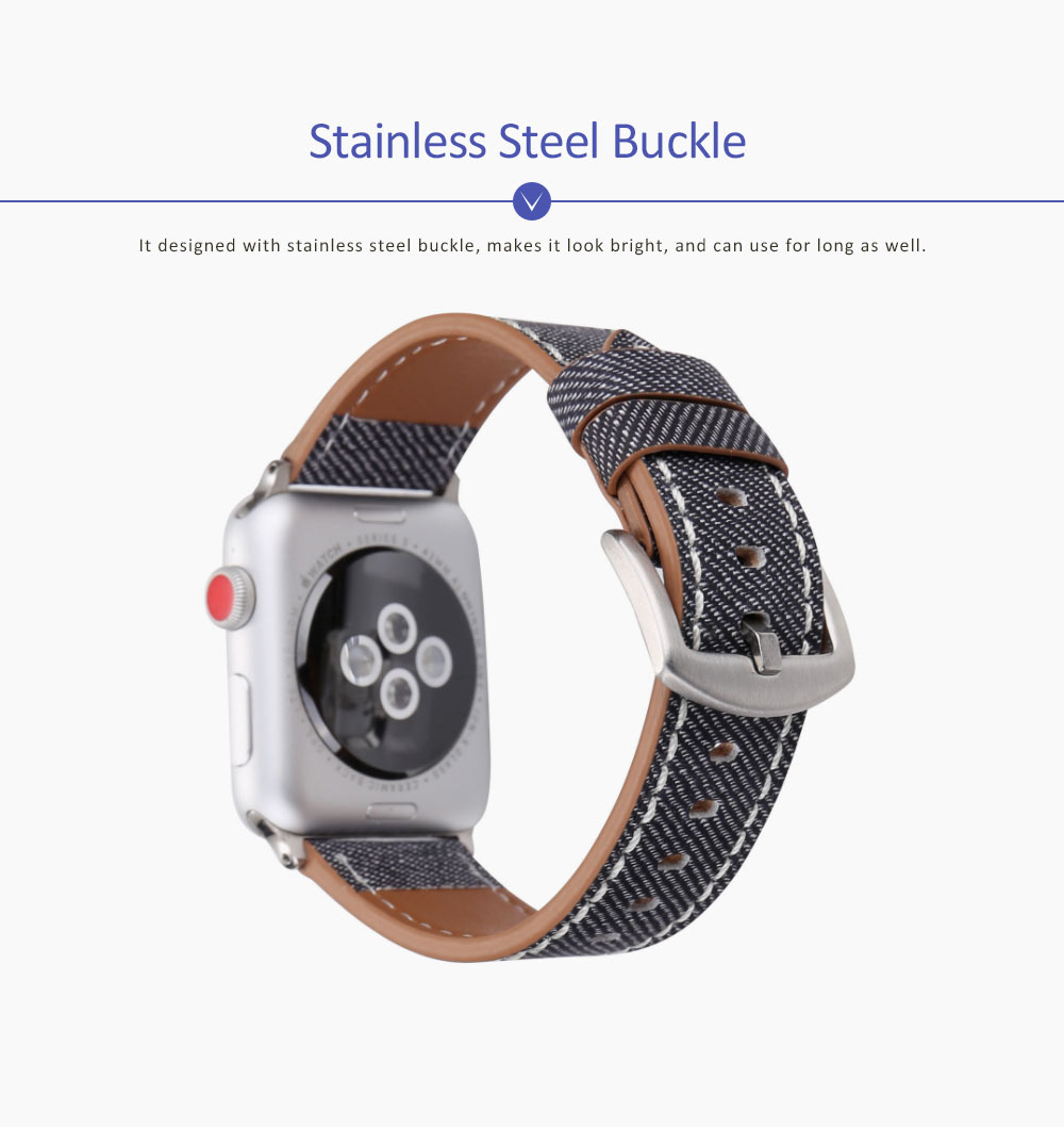 New Watch Band Genuine Leather Strap Cowboy Grain Belt for Apple Watch, 38mm and 42mm 4