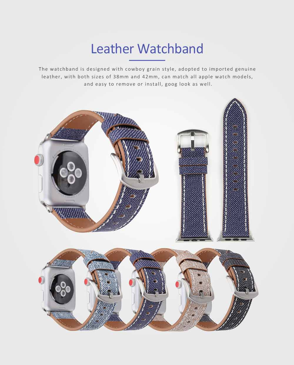 New Watch Band Genuine Leather Strap Cowboy Grain Belt for Apple Watch, 38mm and 42mm 0
