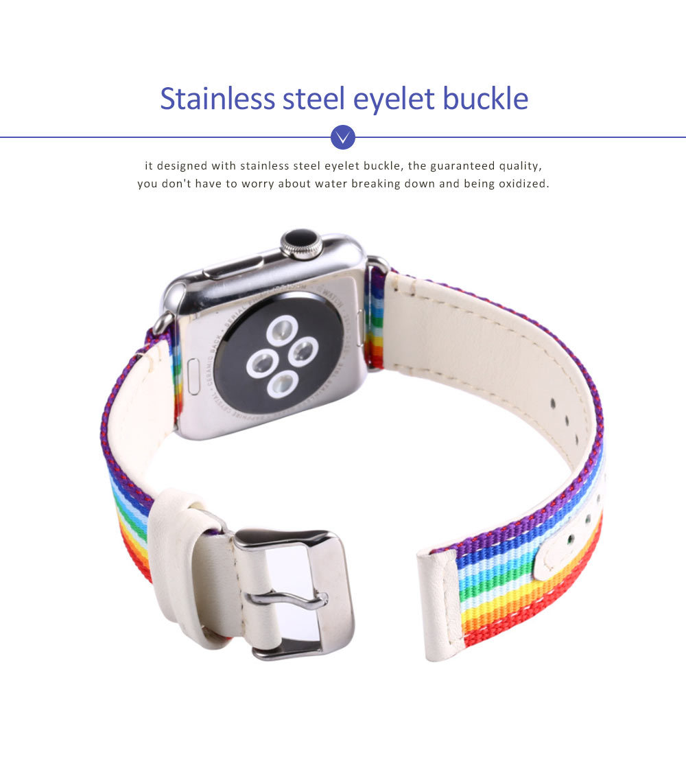 Watchband For Apple Watch, Nylon and Cowhide Band Matching for Apple Watch Casual Strap for Sports, Causal 5