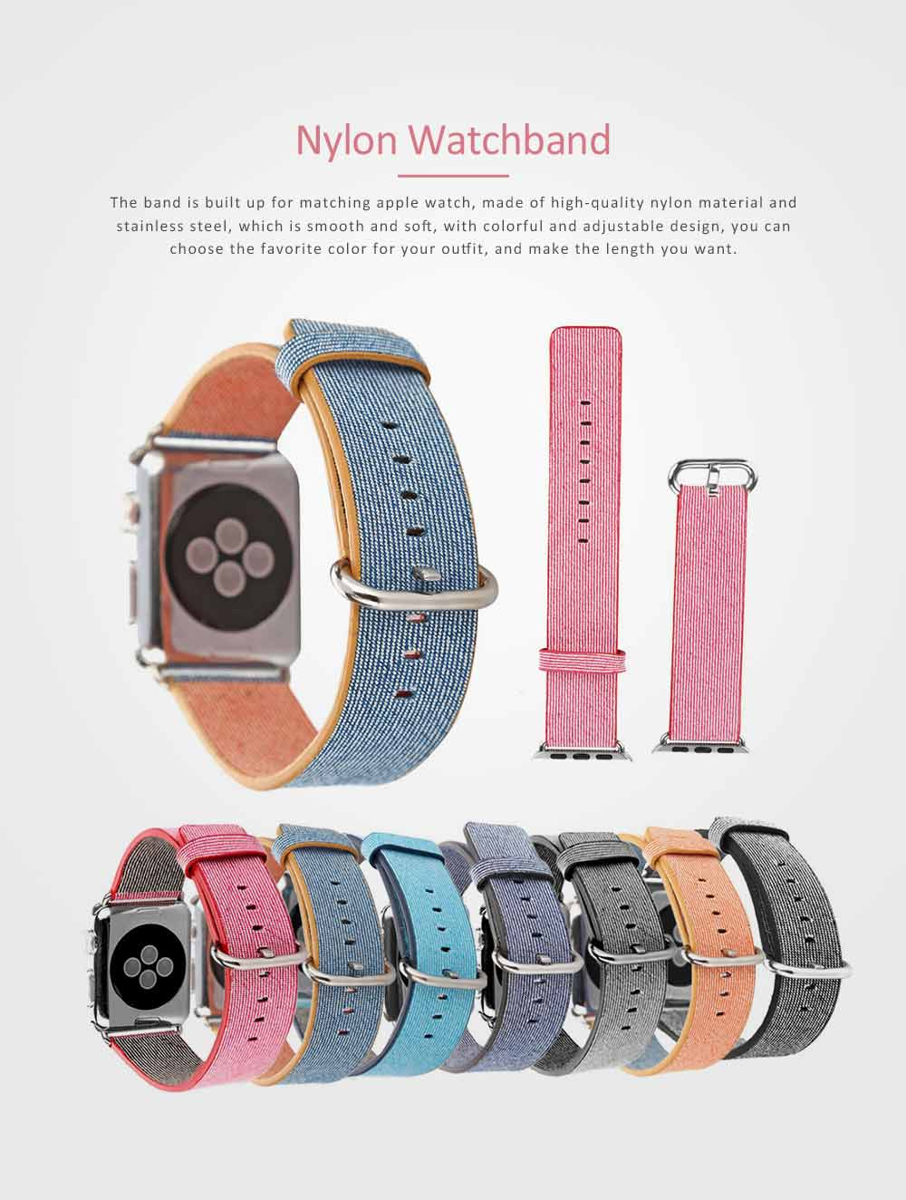 New Nylon Watchband for Apple Watch, Colorful Watch Strap, 38 & 42mm 0