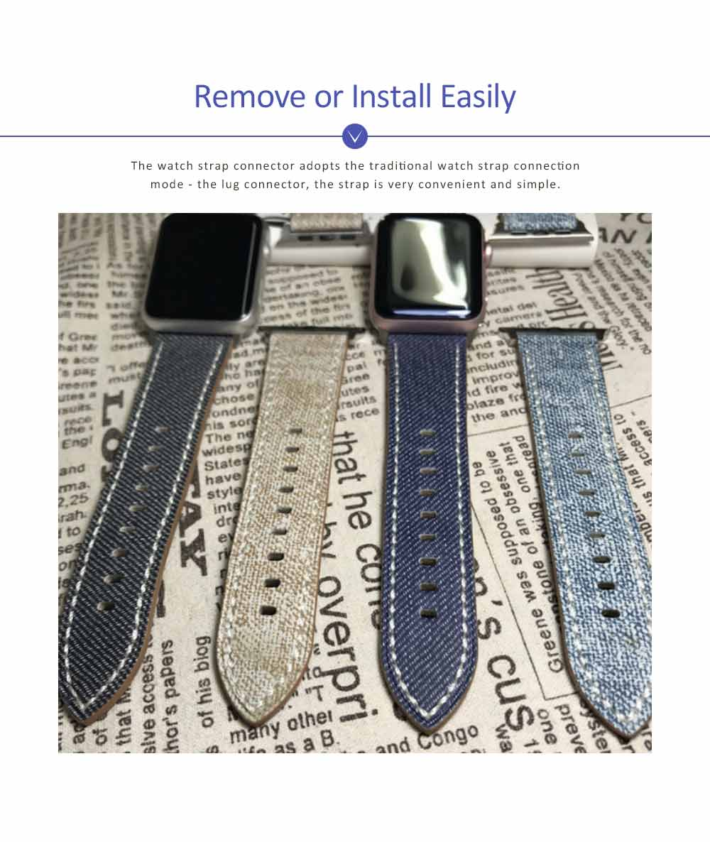 New Watch Band Genuine Leather Strap Cowboy Grain Belt for Apple Watch, 38mm and 42mm 1