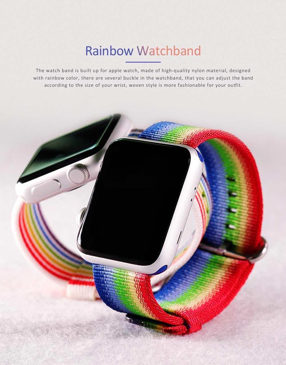 Rainbow Watch Band Nylon Band, Fashionable Watch-belt New Strap, Matching Apple Watch 38/42mm 0
