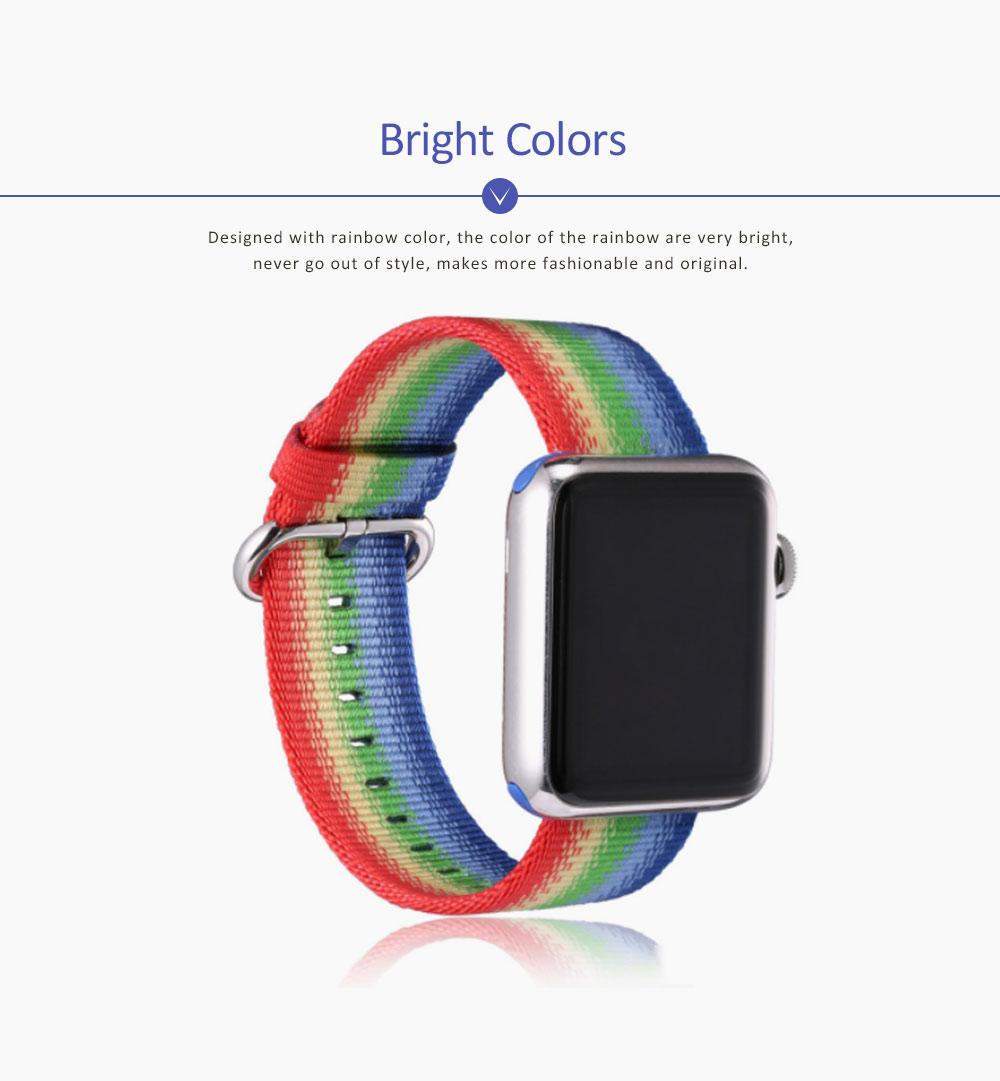 Rainbow Watch Band Nylon Band, Fashionable Watch-belt New Strap, Matching Apple Watch 38/42mm 2
