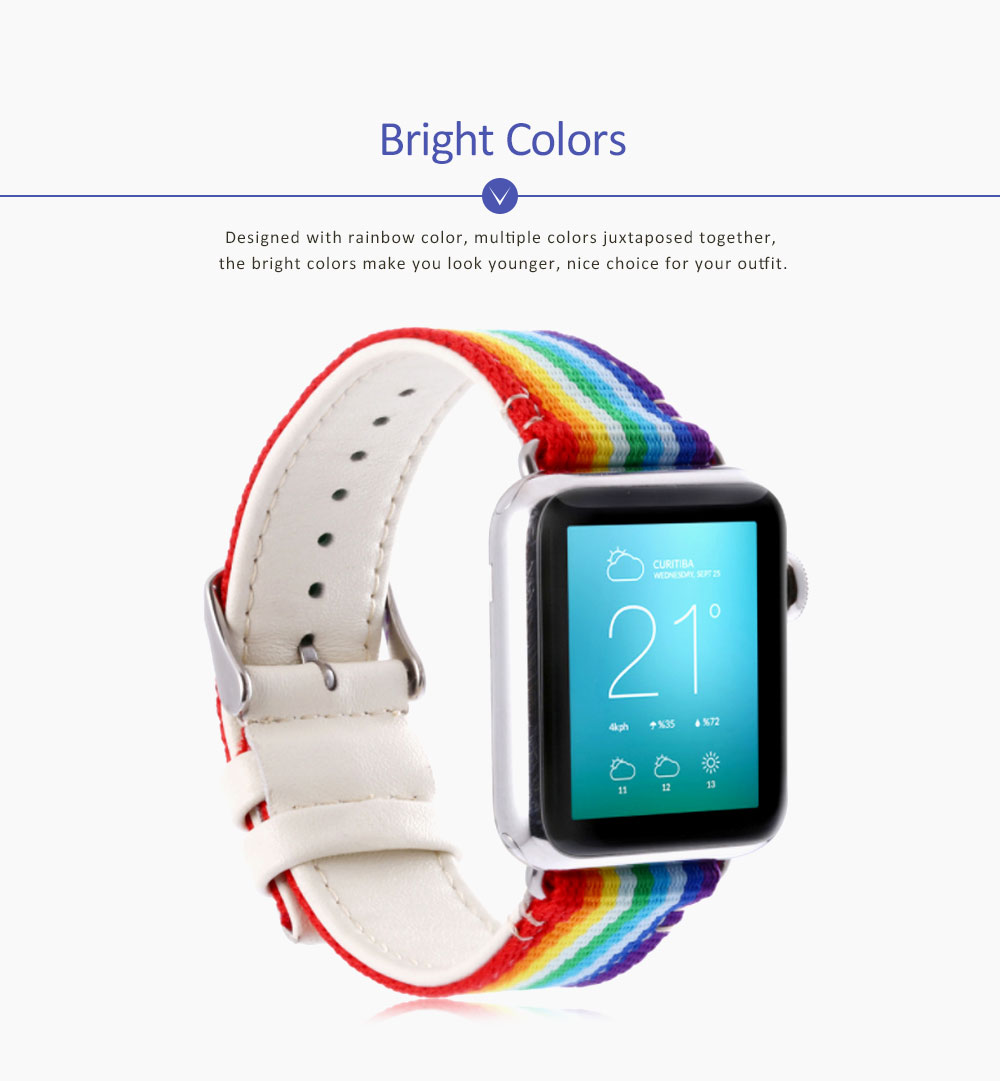 Watchband For Apple Watch, Nylon and Cowhide Band Matching for Apple Watch Casual Strap for Sports, Causal 2