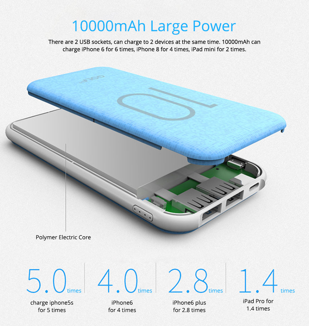 Chic Mosaic Power Bank 10000mAh, Portable External Battery Charger 2 USB Socket, for iPhone 8/7,iPhone X,iPad Pro, Galaxy S8 Note8 and More 3