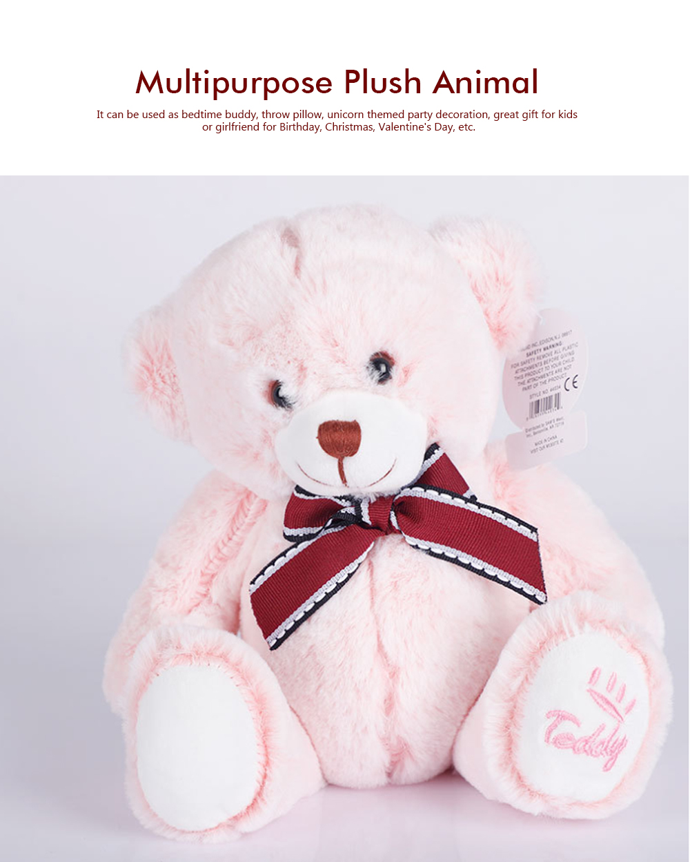 Bow Tie Bear Plush Toy, Grab Doll Machine Toys, Gifts for Decorating Housing and Cars 5