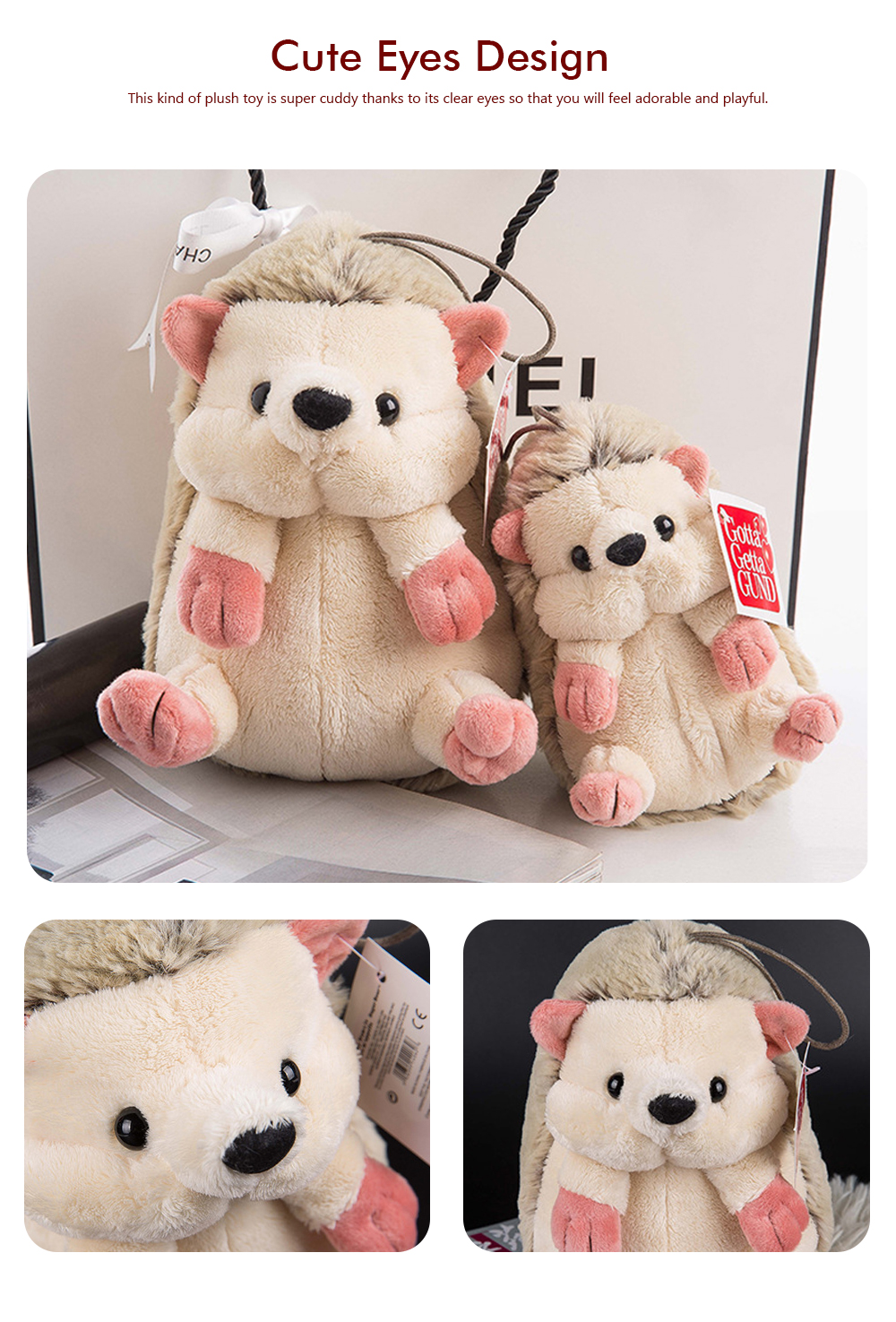 Hedgehog Plush Toy Boutique Doll, Creative for Car Accessories, Gifts for Kids and Small Pendant Key Pendant 3
