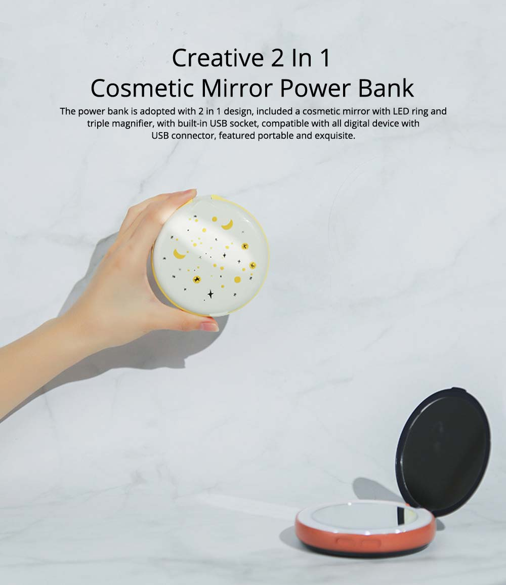 Creative 2 In 1 LED Cosmetic Mirror Power Bank, Portable External Battery Charger USB Socket for Cell Phone 10