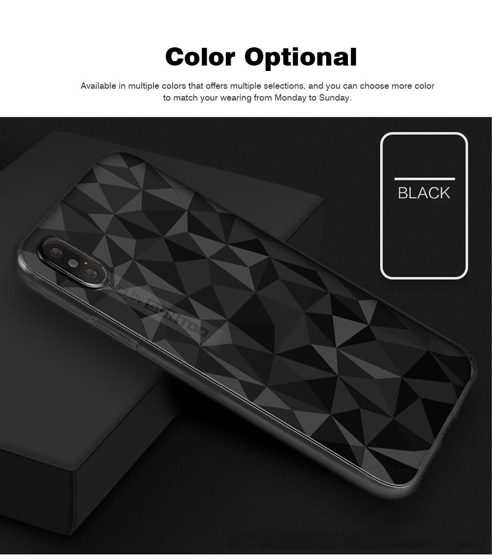 4.7-6.5 inch Soft Phone Case for iPhone Samsung Huawei, Rhombus TPU Phone Cover, Transparent Rhombus Pattern Phone Case 6