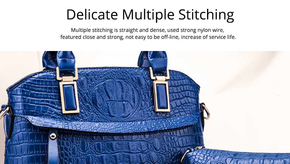 Elegant Lady Accessories Sets 3pcs Crocodile Stria Embossed PU Leather Shoulder Bag & Cross Body Pouch & Strapped Clutch 5