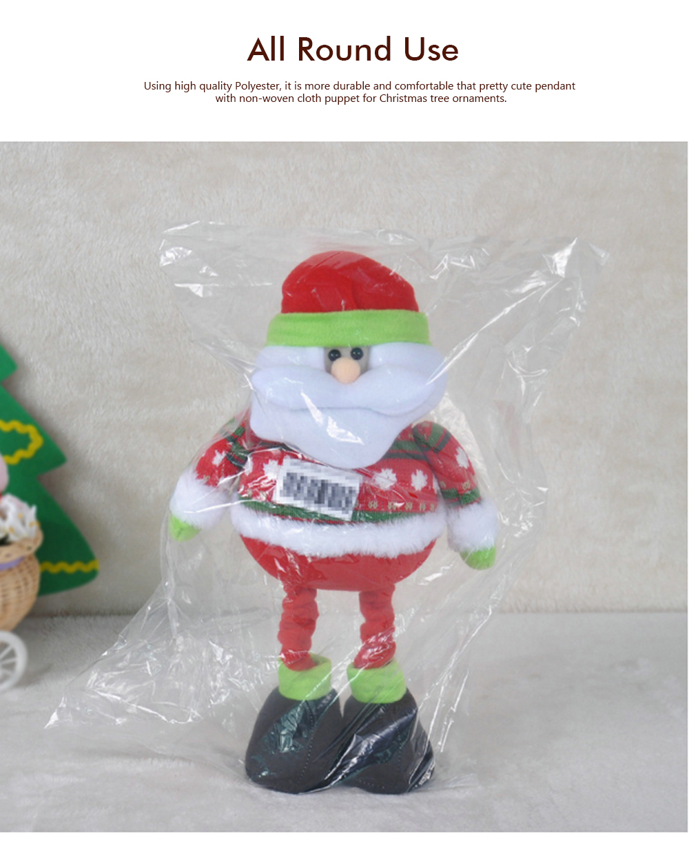 Standing Telescopic Santa Snowman, Figurine Santa Claus Posing Christmas Doll for Gifts 6
