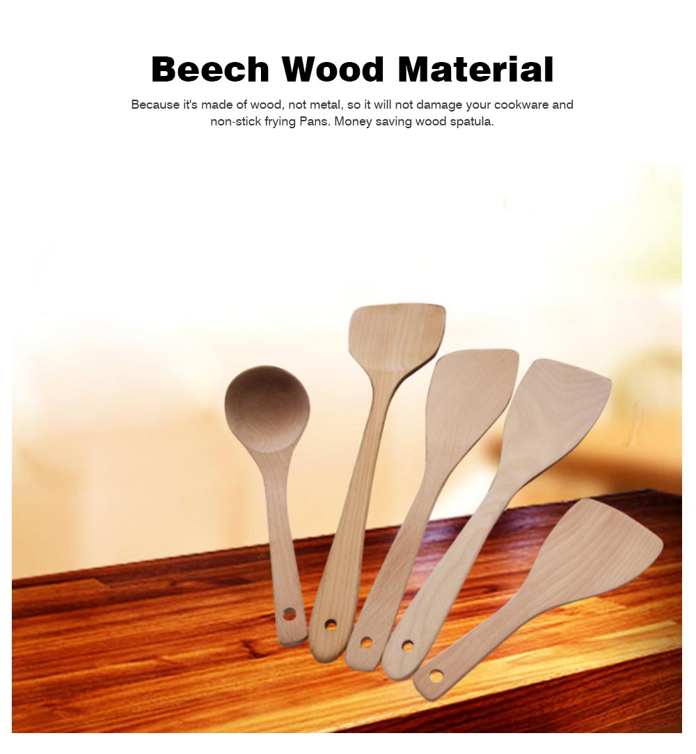Creative Kitchen Utensils Sets - Beech Wood Shovel Lacquer Long Handle, Non-stick Spatula Inclined Cooking Shovel, 5 Pieces 1