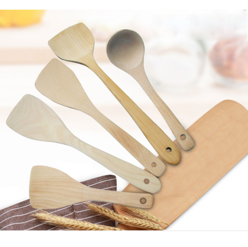 Creative Kitchen Utensils Sets - Beech Wood Shovel Lacquer Long Handle, Non-stick Spatula Inclined Cooking Shovel, 5 Pieces 8