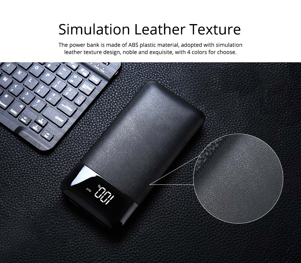 10000mAh Power Bank with 2 Outputs & Dual Inputs, Intelligent LCD, Simulation Leather, Compatible Smartphone, Tablet and More 12