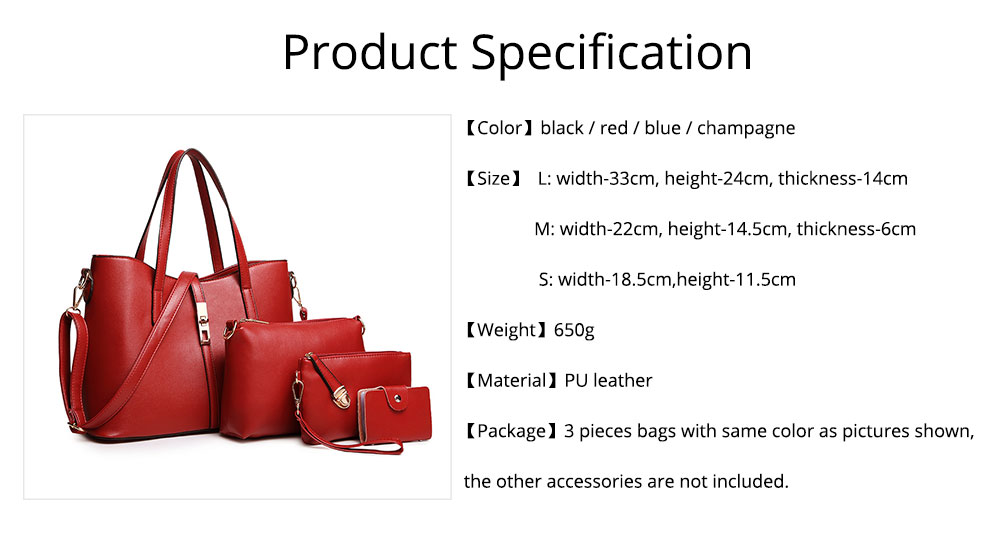 Simple Women Accessories Lady Tote Bag Sets - 3pcs Solid PU Leather Shoulder Bag & Cross Body Pouch & Strapped Clutch 6