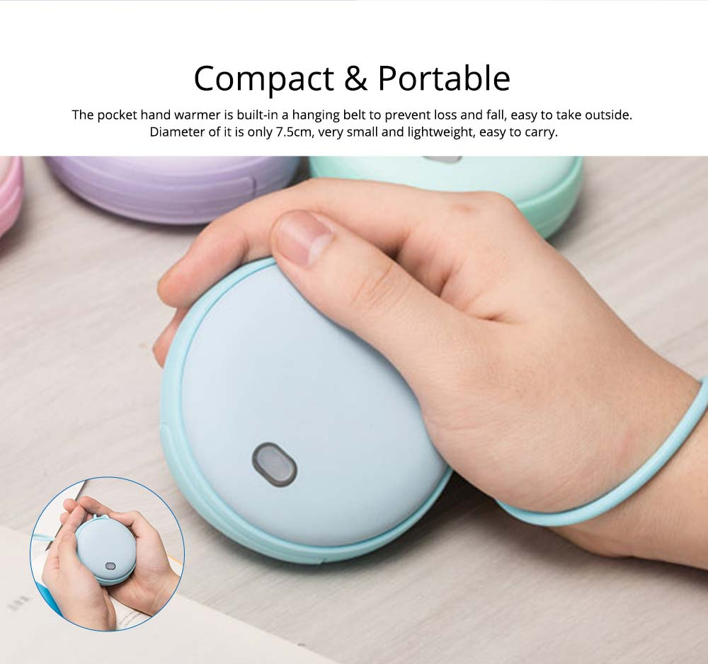 2-in-1 Power Bank Hand Warmer, Creative Pocket Silicone Hand Warmer Electric Heater USB Charger Rechargeable 4500mAh Power Bank, Macaroon Color 17