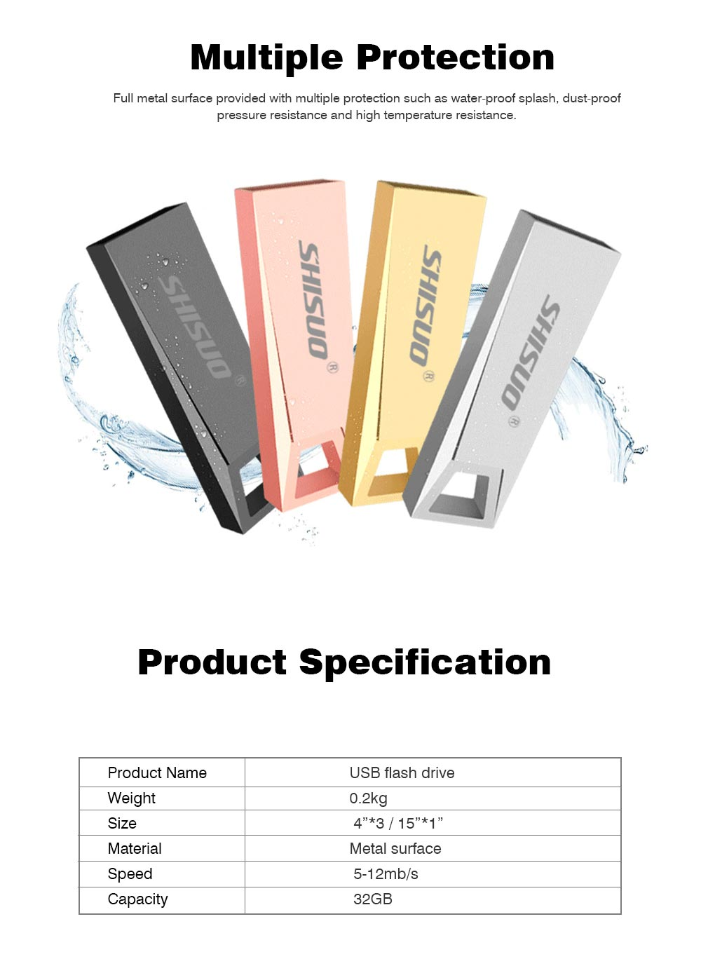 Metal Waterproof Flash Drive for iPhone iPad,USB 4GB, 8GB, 32GB 64GB, 128GB External Storage Memory Expansion Compatible with iOS Devices, Windows and Mac 6