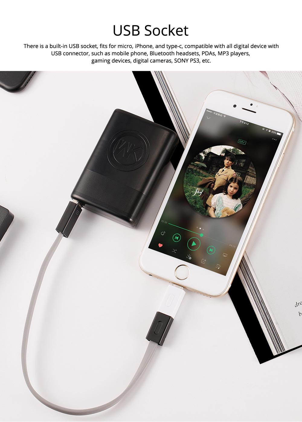 Fast Charging Power Bank 5000mAh, Exquisite Mini Pocket External Battery Fireproof ABS Charger USB Power Bank for Cell Phone 3