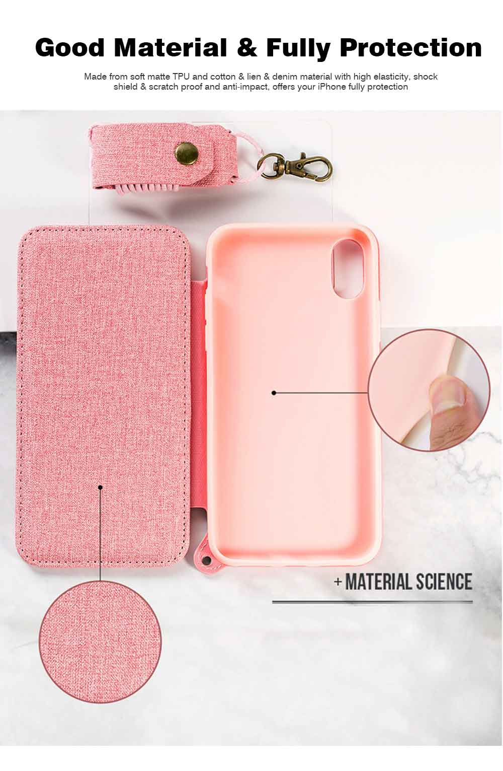 Matte Texture Phone Case with Inside Mirror for iPhone 6,6S,6P,6SP,7,8,7P,8P,X,XS,XS Max,XR Samsung Note 8,S8,S8 Plus, Built-in Mirror Folio Phone Cover 4