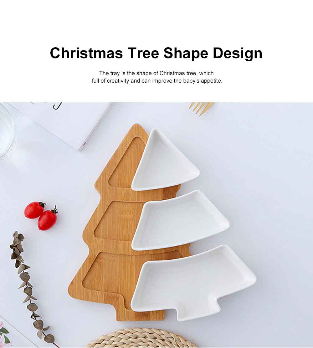 Ceramic Bamboo Tray, Creative Christmas Tree Tableware Snack Dessert Fruit Salad Plate Breakfast Dish 3