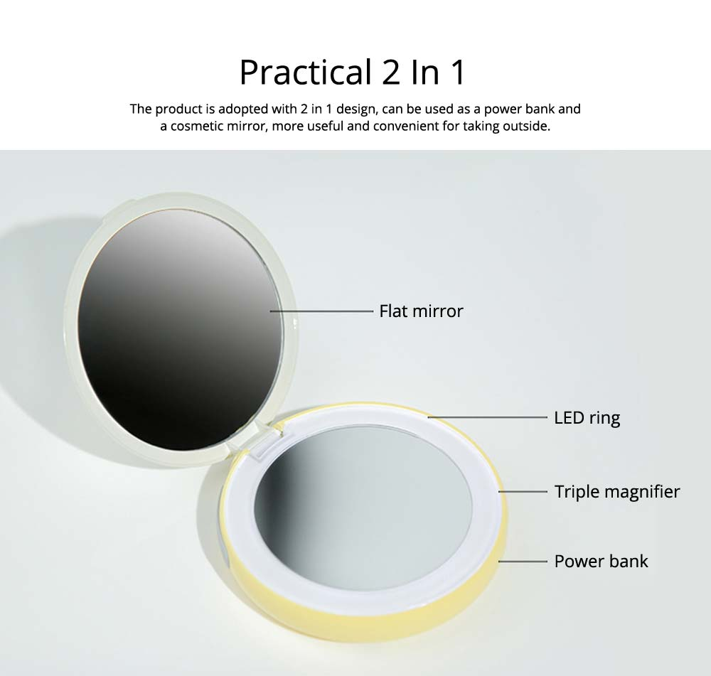 Creative 2 In 1 LED Cosmetic Mirror Power Bank, Portable External Battery Charger USB Socket for Cell Phone 11