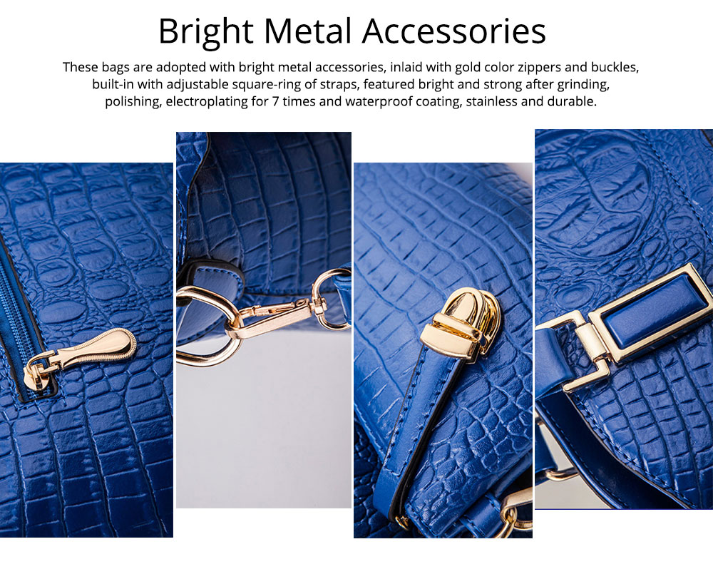 Elegant Lady Accessories Sets 3pcs Crocodile Stria Embossed PU Leather Shoulder Bag & Cross Body Pouch & Strapped Clutch 4