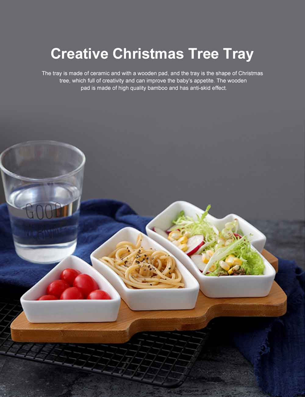 Ceramic Bamboo Tray, Creative Christmas Tree Tableware Snack Dessert Fruit Salad Plate Breakfast Dish 0