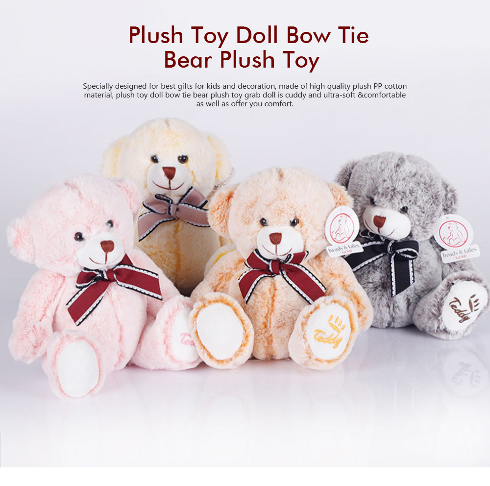 Bow Tie Bear Plush Toy, Grab Doll Machine Toys, Gifts for Decorating Housing and Cars 0