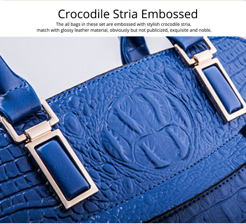 Elegant Lady Accessories Sets 3pcs Crocodile Stria Embossed PU Leather Shoulder Bag & Cross Body Pouch & Strapped Clutch 1