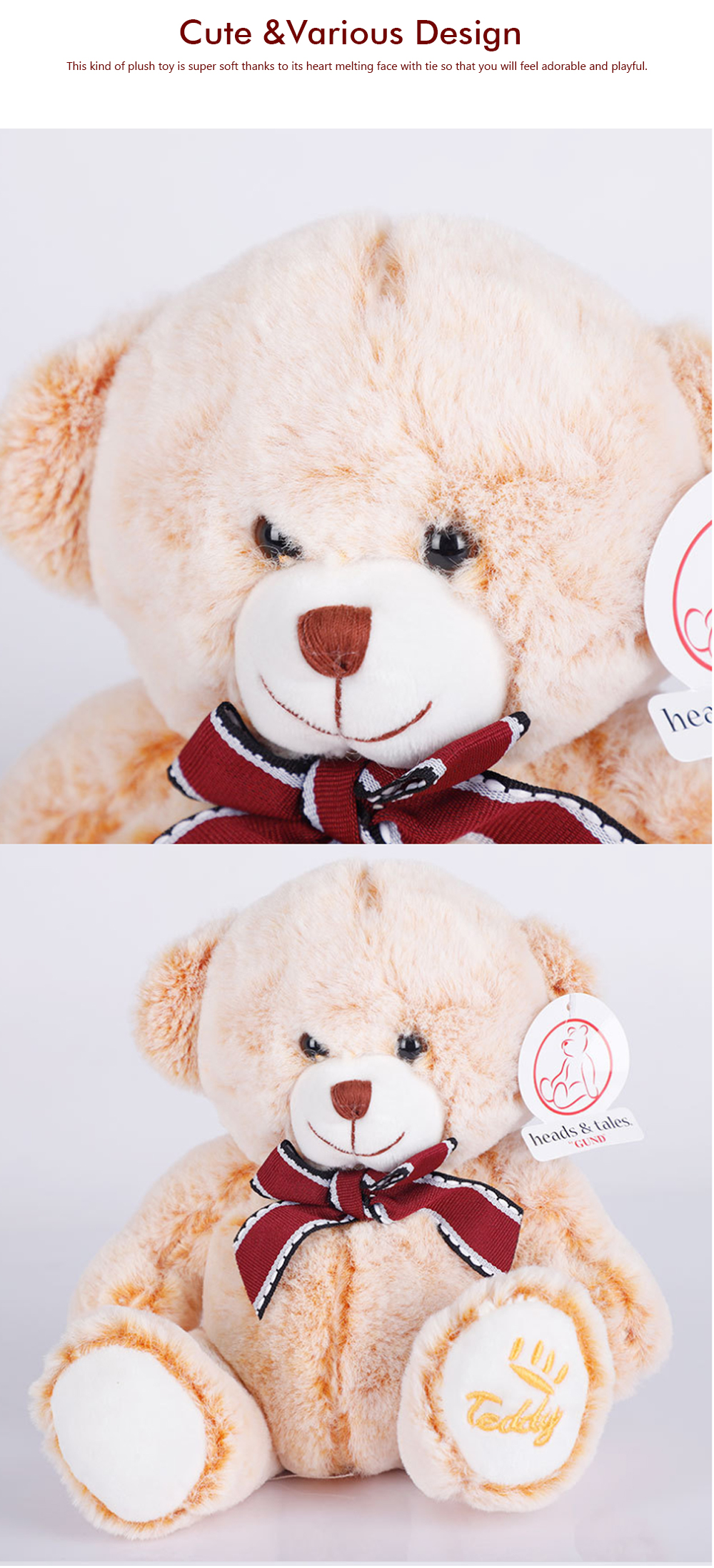 Bow Tie Bear Plush Toy, Grab Doll Machine Toys, Gifts for Decorating Housing and Cars 3