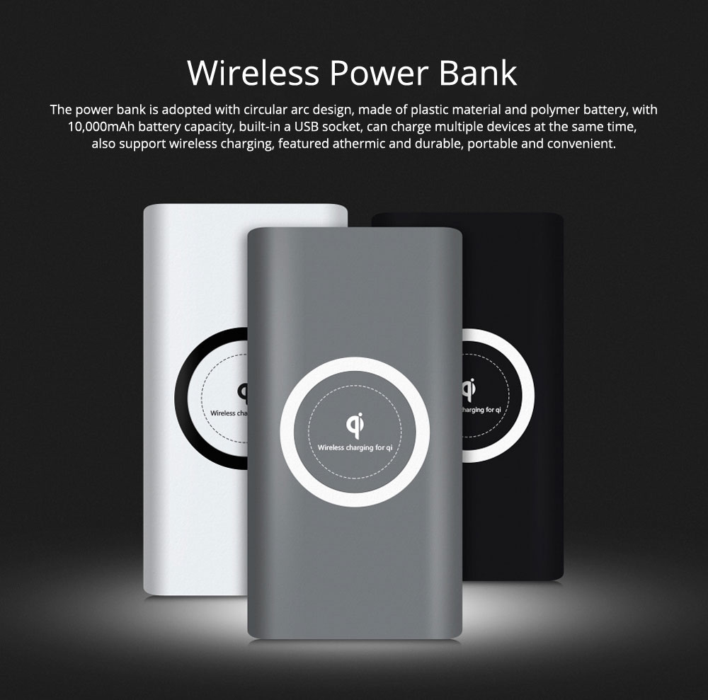 Wireless Charging Power Bank for Cell Phone, Smart 10,000mAh Portable External Battery Acrylic Charger 0