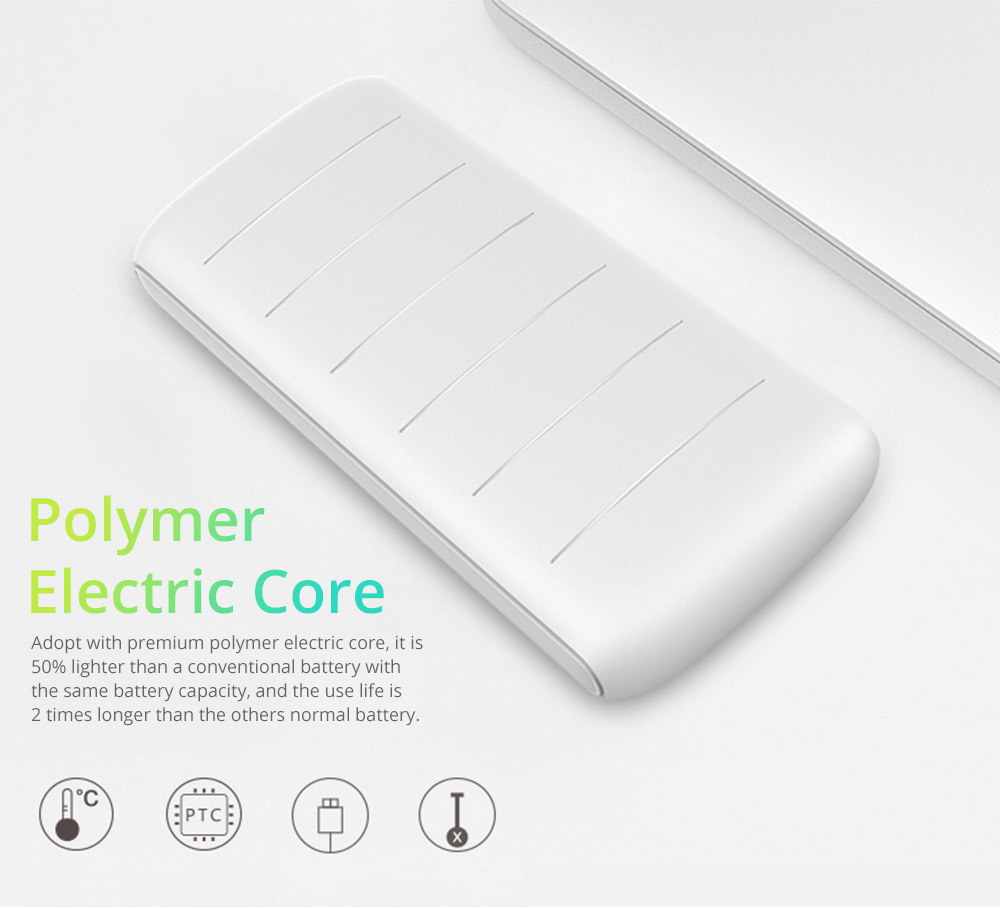 Dual USB Power Bank for Cell Phone 10000mAh, Contracted Circular Arc Portable External Battery Fireproof ABS Charger 13