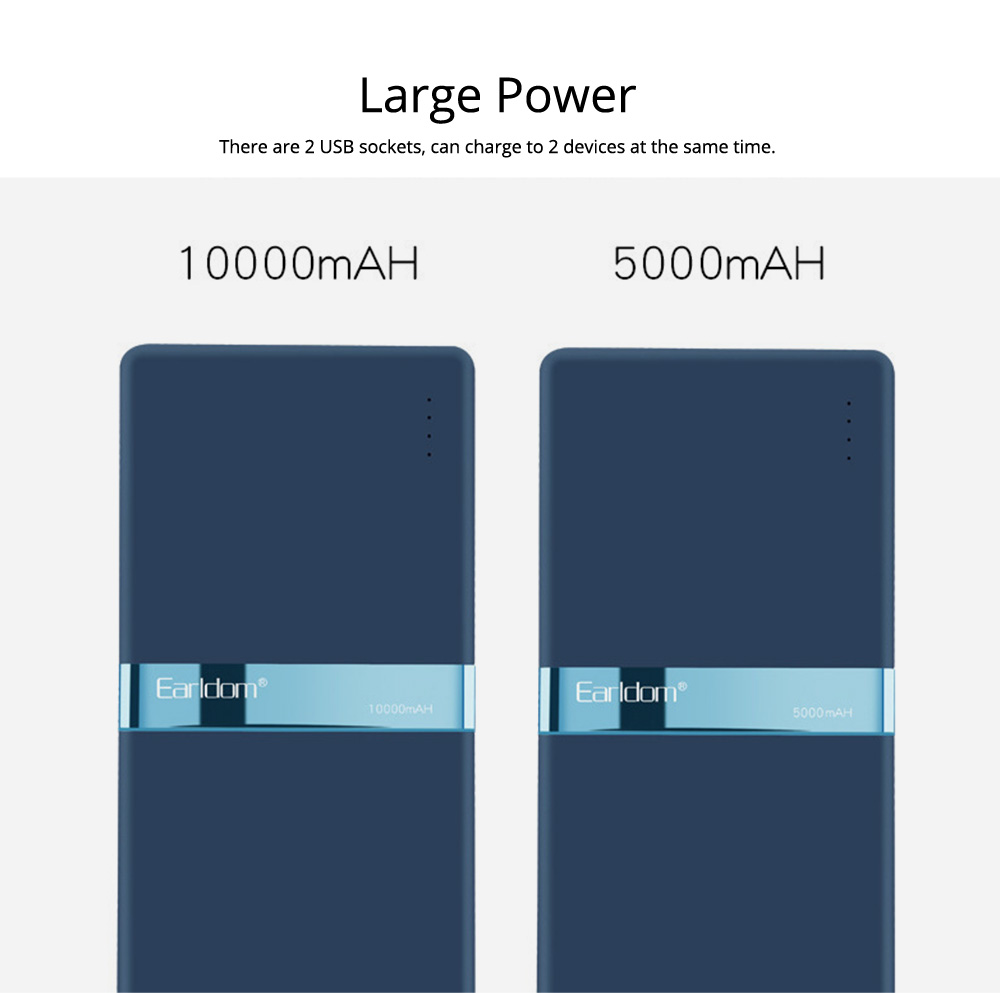 Stylish Business Power Bank 10000 5000mAh, Portable External Polymer Battery Charger USB Socket Power Bank for Cell Phone 5