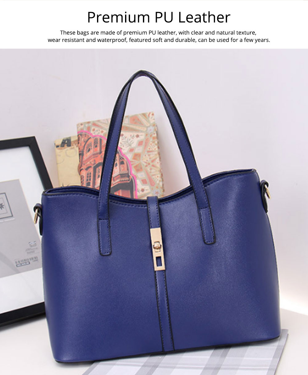 Simple Women Accessories Lady Tote Bag Sets - 3pcs Solid PU Leather Shoulder Bag & Cross Body Pouch & Strapped Clutch 2