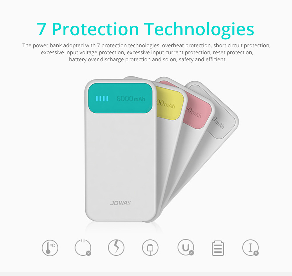Candy Color Fast Charging Power Bank for Cell Phone, Fresh Style Polymer Battery 6000mAh Portable External Battery Charger 14
