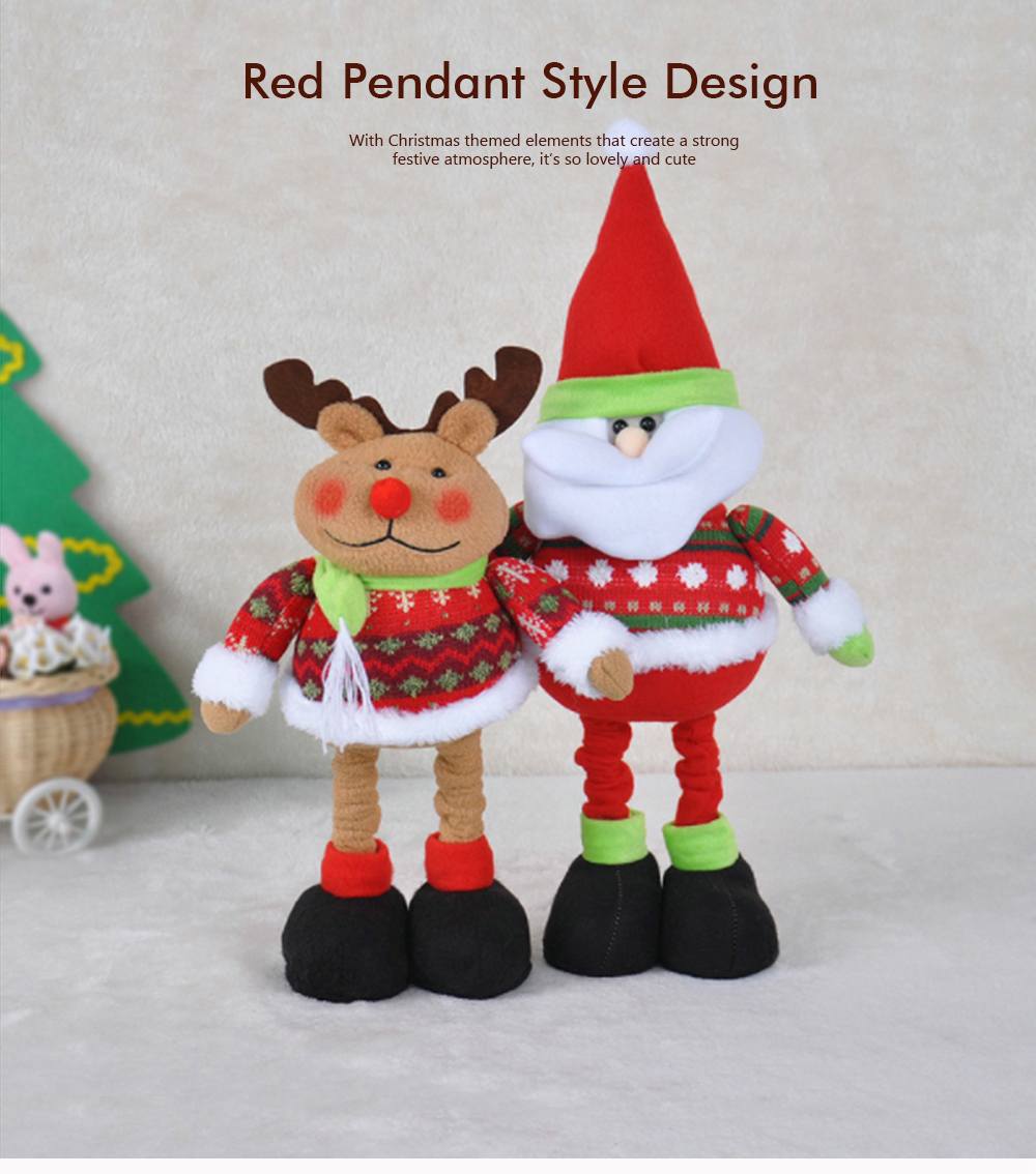 Standing Telescopic Santa Snowman, Figurine Santa Claus Posing Christmas Doll for Gifts 0