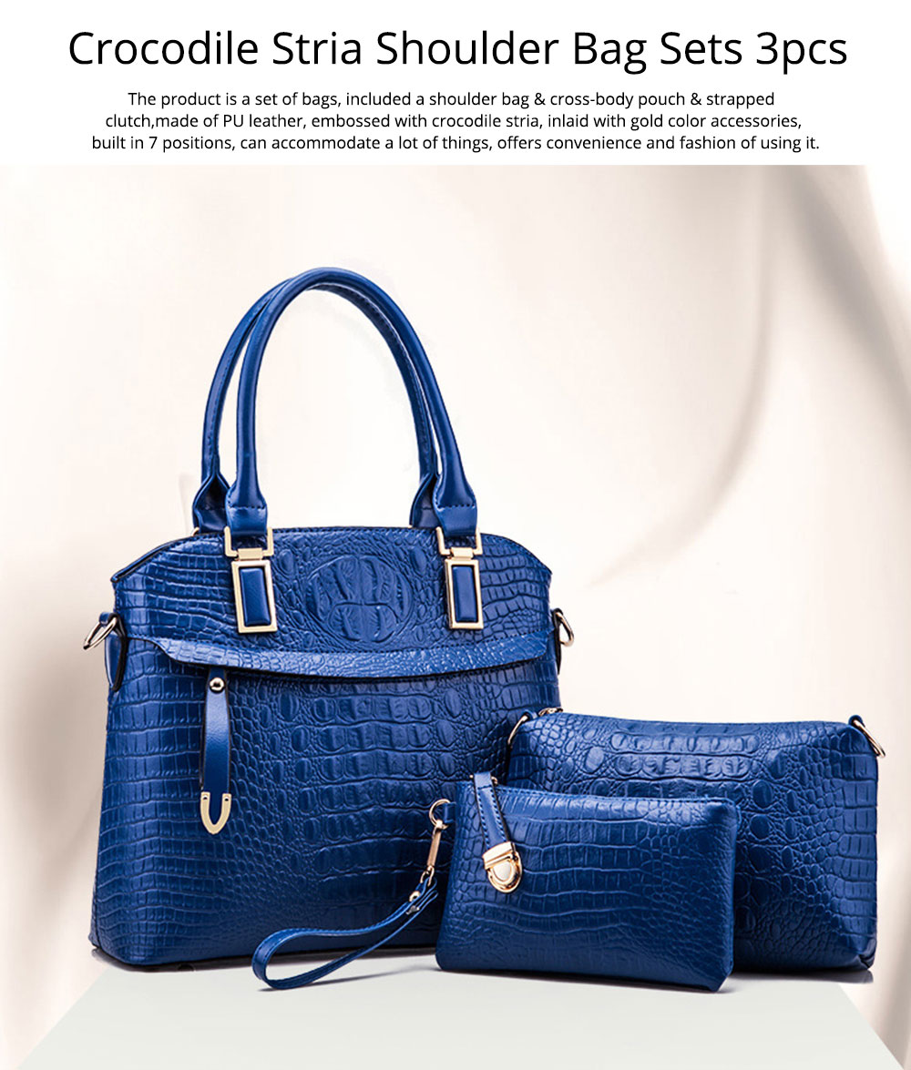 Elegant Lady Accessories Sets 3pcs Crocodile Stria Embossed PU Leather Shoulder Bag & Cross Body Pouch & Strapped Clutch 0