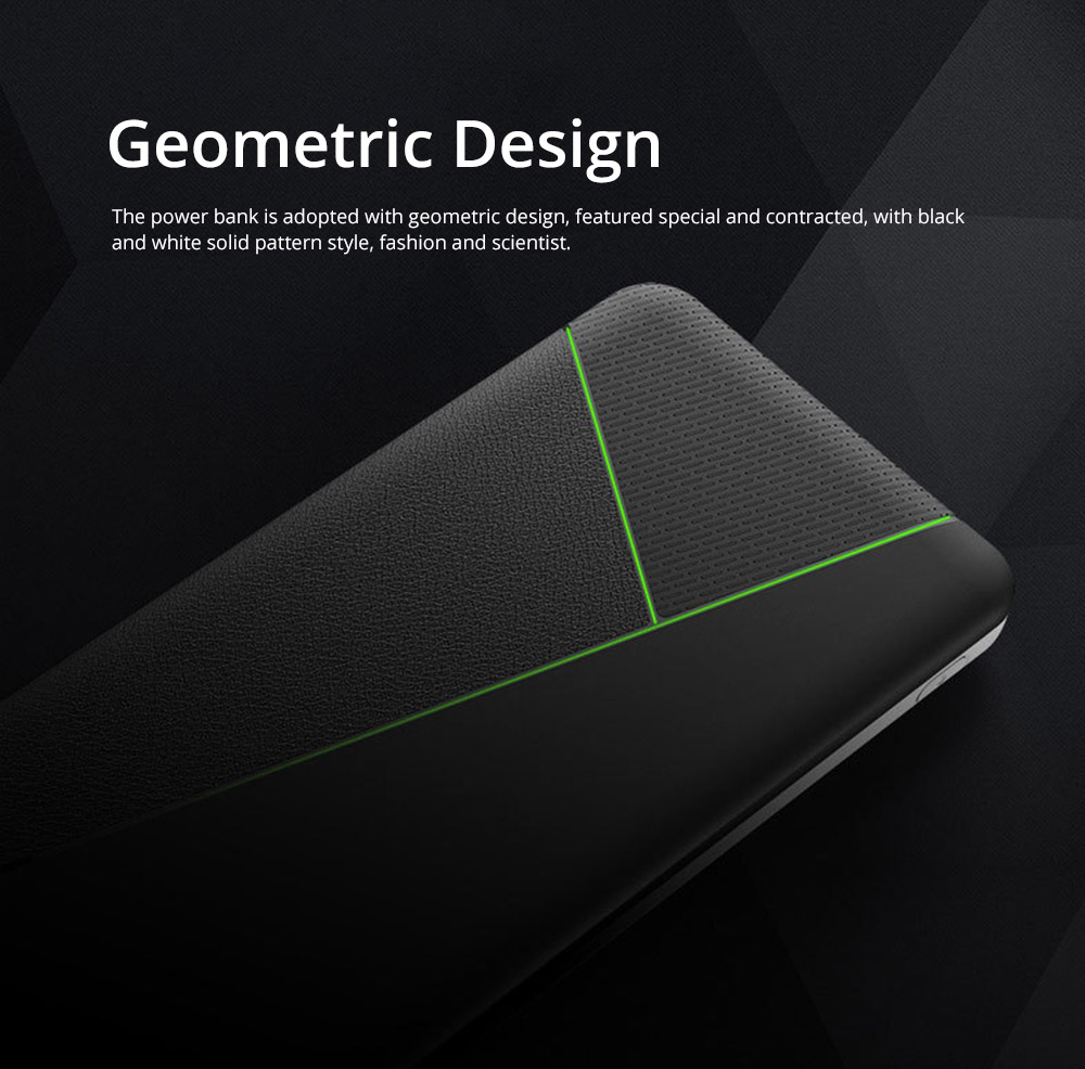 Contracted Business Power Bank 10000mAh, Geometric Black White Portable External Battery Charger Power Bank with 2 USB Socket 4